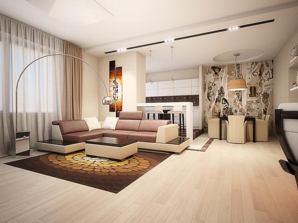 Гостиная в пастельных тонах дизайн