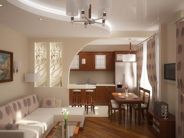 Дизайн интерьер кухни гостиной
