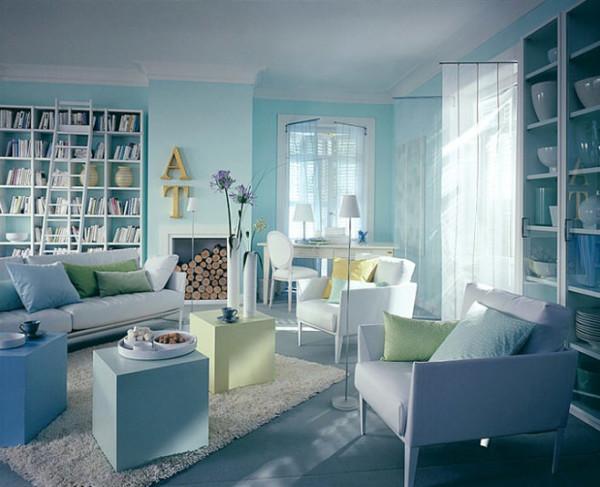 интерьеры жилых помещений.в салатовом, голубом цветефото